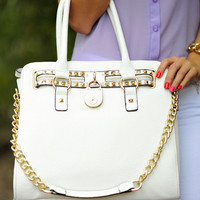 RESTOCK Free Spirit Satchel: White/Gold | Hope's