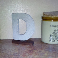 Rustic Med 7&quot; Cement Letter D with Stained Barnwood Base