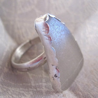 Sterling Ring with Creamy Seaglass Triangle by JudithGayleDesigns