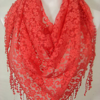 Women Lace Triangle Scarf-Coral...Grand Opening Sale....Everything 9.99USD