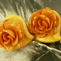 1930 BakeliteCelluloid HeartRose BobbyHair Pins by WillowBloom