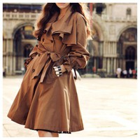 Ruffles Collar Trench Coat