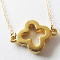 Thick Gold Clover Necklace, 14kt Gold Filled Necklace, Gift for Her