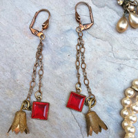 Romantic Red Vauxhall Earrings Glass Brass Dangle by WillowBloom