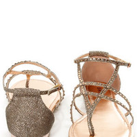 Bamboo Bloom 74 Rose Gold Glitter and Rhinestone Thong Sandals