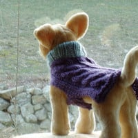 Dog Sweater Hand Knit Cable Baby Small by jenya2 on Etsy