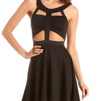 Mesh Back Cutout Skater Dress: Charlotte Russe