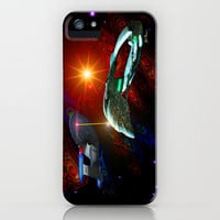 Enterprise vs Romulan Warbird iPhone Case by JT Digital Art 