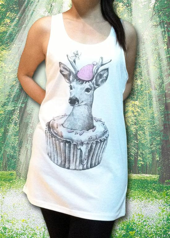Deer Happy New Year Cupcake Funny Animal Deer Tank by sinclothing