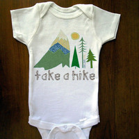 Take A Hike Baby One Piece Bodysuit Romper by trulysanctuary