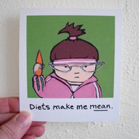 Funny Diet Magnet, Diets make me mean, by SimplyCutebyKarin