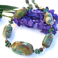American Turquoise Handmade Necklace Chunky Earthy Gemstone Jewelry