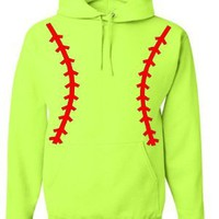 Amazon.com: Softball Pullover Hooded Sweatshirt (Unisex Adult Hoodie) - Neon Safety Green / Red: Sports & Outdoors