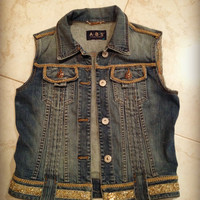 CLEARANCE Vintage Denim Vest / Jean Vest with Gold Embellishing