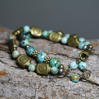 African Queen OOAK - African Turquoise and Antiqued Gold Beaded Double Strand Bracelet