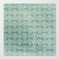 Art Nouveau Grunge Pattern Stretched Canvas by Susan Weller