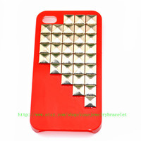iPhone 4, 4S hard Case Cover with silver pyramid stud For iPhone 4 Case, iPhone 4S hand Case,iPhone 4 GS case, iPhone hand case cover  d-4