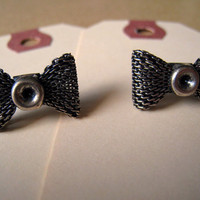 Bow Earrings Studs Silver Color by Bitsofbling on Etsy