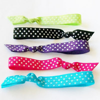 Set of 5, Hair Tie Bracelets, Polka Dot Brights by Lucky Girl