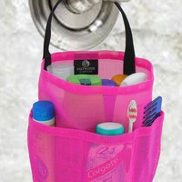 Dorm Shower Caddy - Hot Pink & Black Straps - by Saltwater Canvas
