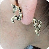 MELO YUMIS SHOP 3D GOLD FLYING HORSE PEAGASUS 1 STUDS EARRINGS QUIRKY KITSCH