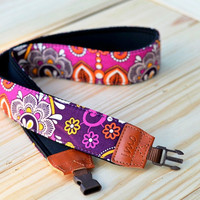 Purple Damask Camera Strap for DSLR / SLR Quick Release by iMoShop