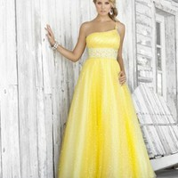 Ball Gown Floor-length One Shoulder Oblique Natural Waist Chiffon With Beading Prom Dresses