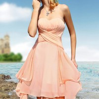 Summer Knee Length Sweetheart Orange Chiffon Cocktail Dresses (Cbs058)