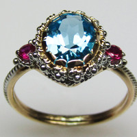 Blue Topaz &amp; Ruby Ring - in 14K Gold