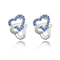 Linked Hearts Shape Earrings with SWAROVSKI ELEMENTS Design