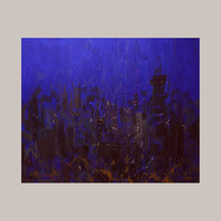 Evening City Painting - Royal Blue Canvas Art -Actylic Painting Original - CIty LIghts Impressionist  by Yuri Pysar