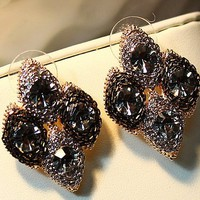 retro rivet diamond ear stud
