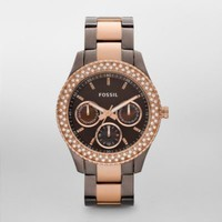 FOSSIL® Watch Collections Stella:Womens Stella Stainless Steel Watch - Brown and Rose ES2955