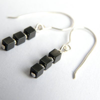 Black earrings, hematite earrings, cube drop earrings, uketsypromo0313