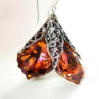 Red Orange Earrings Sterling Silver Swarovski by DorotaJewelry