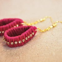 Dangle earrings with clear rhinestones, fuchsia earrings wrapped with cotton thread