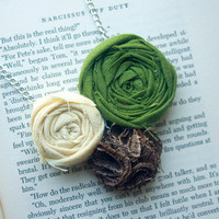 Fabric Rosette Necklace Forest Green Nougat by IslaysTerrace