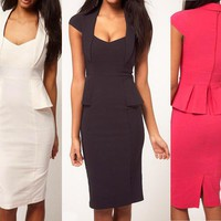 Elegant Women's Office Lady Wear To Work peplums Party pencil Bodycon Dress N553