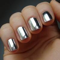 Mirror Silver Nail Wrap Manicure Nail Art