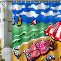 Renie Britenbucher Sunbather Diva Shower Curtain
