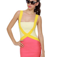 Sexy Color Block Dress - Body Con Dress - Bandage Dress - $56.00
