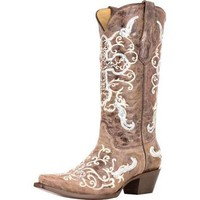Corral Tobacco &amp; Beige With Silver Sequined Cross- 13 Top Cowgirl Boot