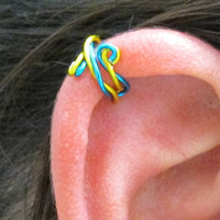 Spiral Ear Cuff Wrap - Twisted Peacock Blue & Yellow