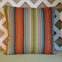 Bold Stripe Pillow Cover in Rust, Turquoise, Green, Beige and Brown