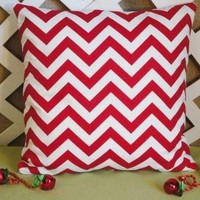 Pillow Cover Red and White Zig Zag Print PILLOW COVER ONLY
