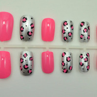 "Artificial Nails - ""Luxe Leopard"" - Pink & Silver, Glitter Leopard Print, Hand Painted, Glue-on Fake Nails"