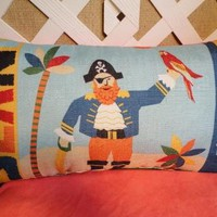 Pirate Pillow for Boys in Orange and Blue