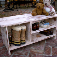 Wooden Shoe Bench Entryway Hall Shoe Storage by honeystreasures