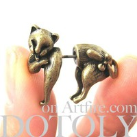 3D Fake Gauge Kitty Cat Cute Animal Plug Stud Earrings in Bronze