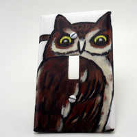 Children's Book Light Switch Cover  Owl by ColorMeFabricbyNikki